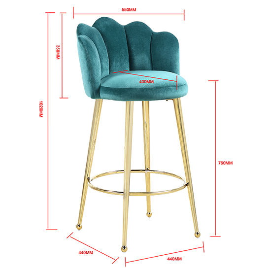 Mario Green Velvet Bar Stools In Pair With Gold Legs_5