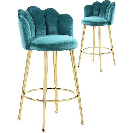 Mario Green Velvet Bar Stools In Pair With Gold Legs_1