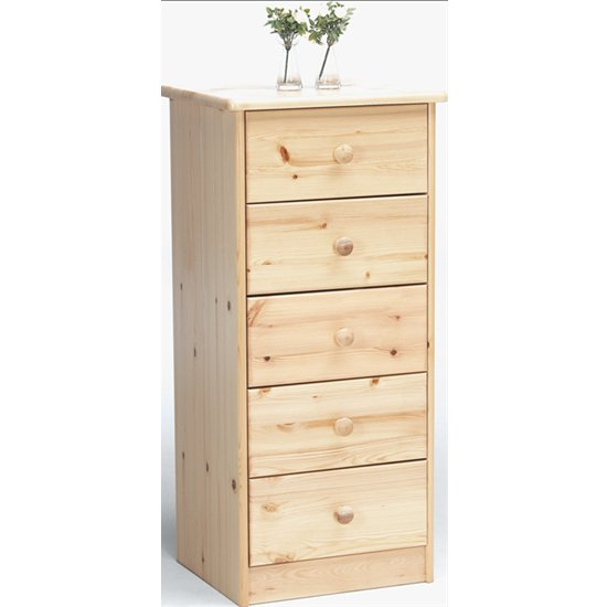 Mario Narrow Wooden Chest Of 5 Drawers In Natural