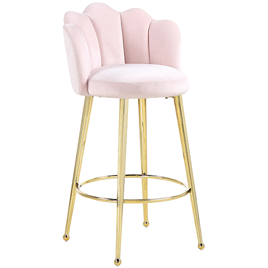 Mario Pink Velvet Bar Stools In Pair With Gold Legs_2