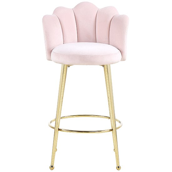 Mario Pink Velvet Bar Stools In Pair With Gold Legs_3