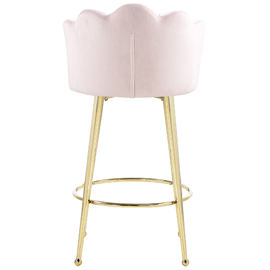 Mario Pink Velvet Bar Stools In Pair With Gold Legs_4