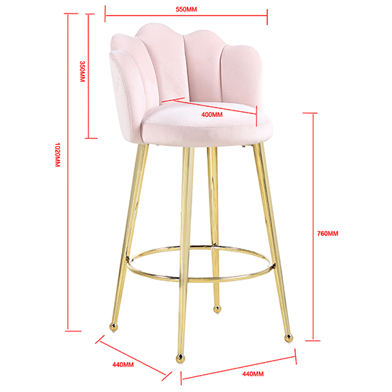 Mario Pink Velvet Bar Stools In Pair With Gold Legs_5