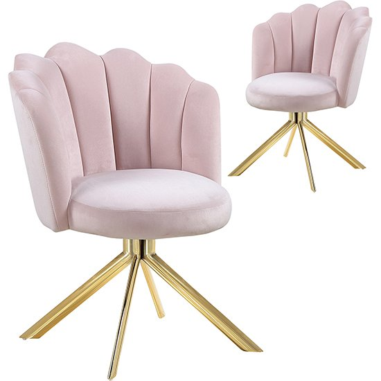 Mario Pink Velvet Dining Chairs In Pair With Gold Legs