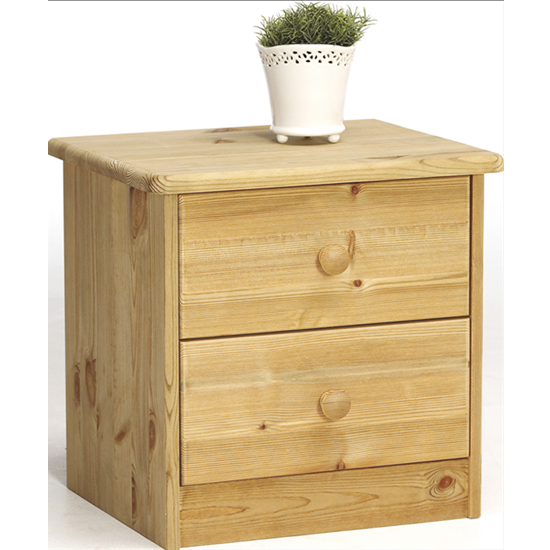 Mario Wooden Bedside Cabinet In Lyed Oil With 2 Drawers