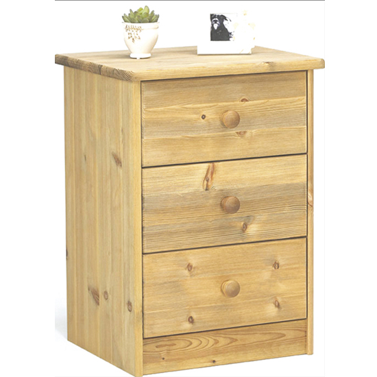 View Mario wooden bedside cabinet in lyed oil with 3 drawers