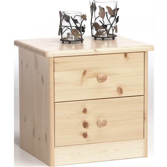 View Mario wooden bedside cabinet in natural with 2 drawers