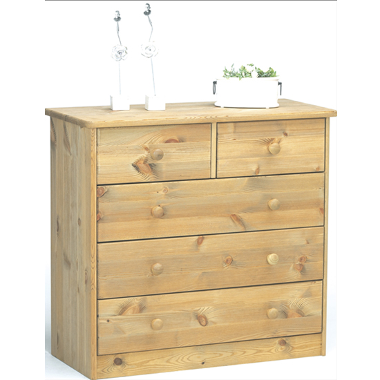 Mario Wooden Chest Of Drawers In Lyed Oil With 5 Drawers