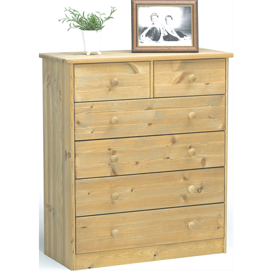 View Mario wooden chest of drawers in lyed oil with 6 drawers