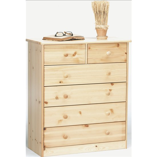 View Mario wooden chest of drawers in natural with 6 drawers