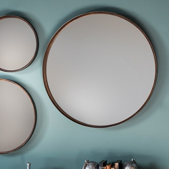 Marion decorative round wall mirror large in bronze 29014 for Large round decorative mirror