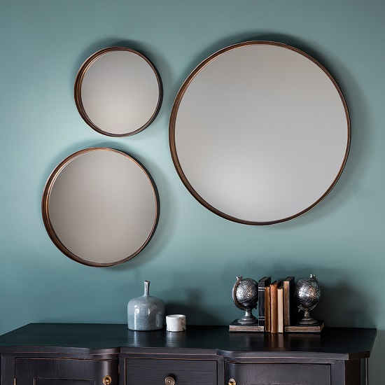 Marion Decorative Round Wall Mirror Large In Bronze_3