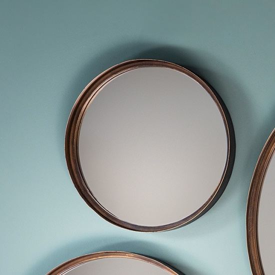 Marion decorative round wall mirror small in bronze 29016 Round decorative wall mirrors