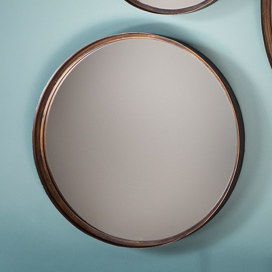 Marion decorative round wall mirror medium in bronze 29015 Round decorative wall mirrors
