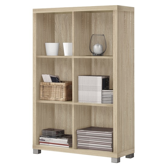 Marios Wooden Low Bookcase In Light Oak