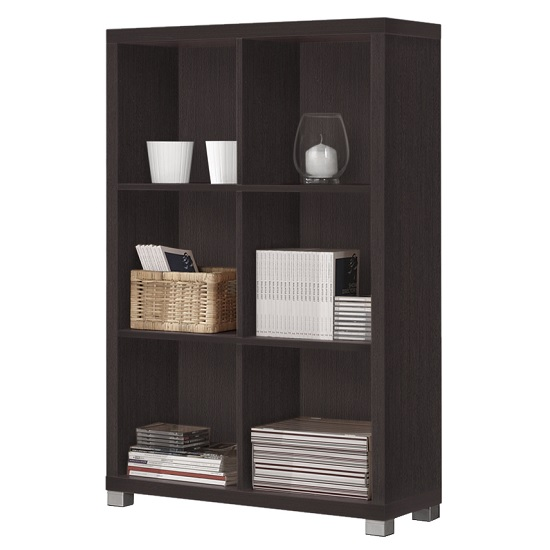 Marios Wooden Low Bookcase In Wenge