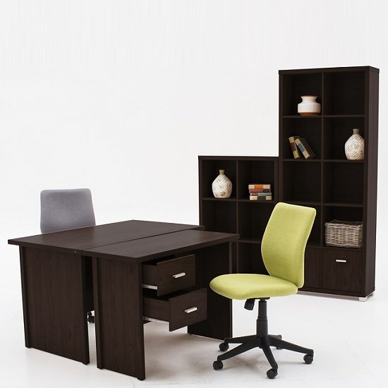 Marios Wooden Computer Desk Small In Wenge With 2 Drawers_2