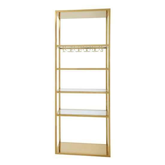 Markeb Bar Shelving Unit In Gold With Glass Rack