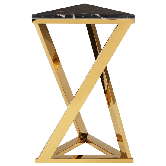 Markeb Black Marble End Table With Gold Base