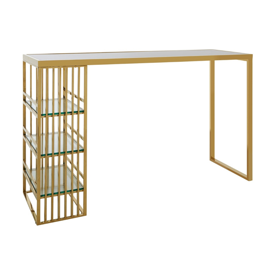 Markeb Glass Bar Table In Gold Stainless Steel Frame