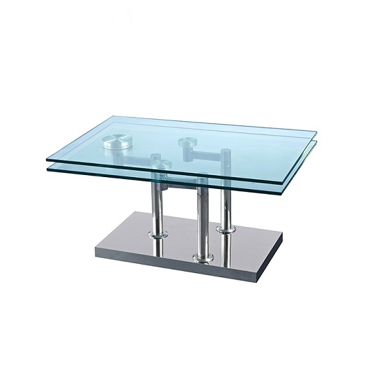 Marksbury Rotating Glass Coffee Table In Clear And Silver Base