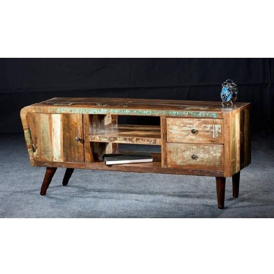 Marley TV Cabinet In Reclaimed Wood With Metal Legs