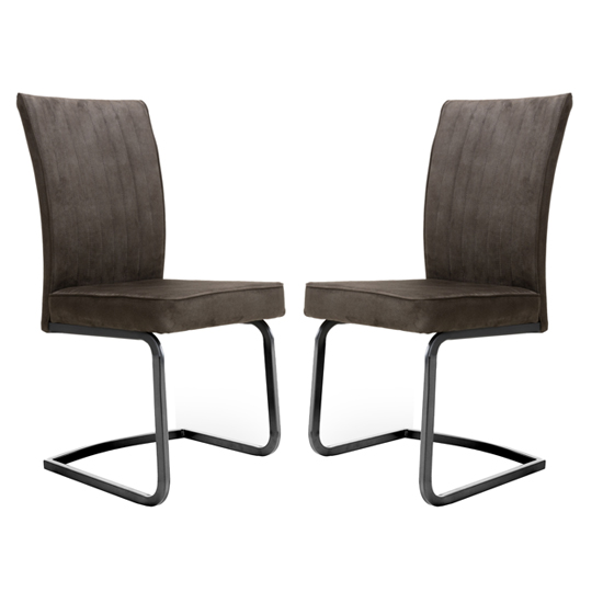 Marlin Cantilever Brown Velvet Dining Chairs In Pair
