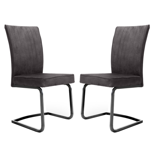 Marlin Cantilever Grey Velvet Dining Chairs In Pair