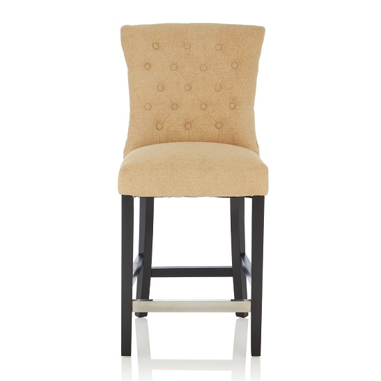 Marlon Bar Stool In Oatmeal Fabric With Black Legs