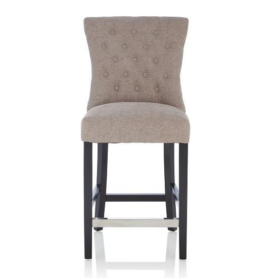 Marlon Bar Stool In Silver Fabric With Black Legs