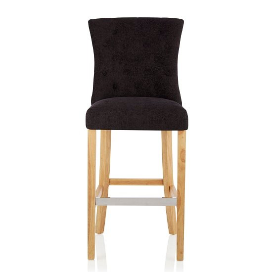 Marlon Bar Stool In Aubergine Fabric With Oak Legs