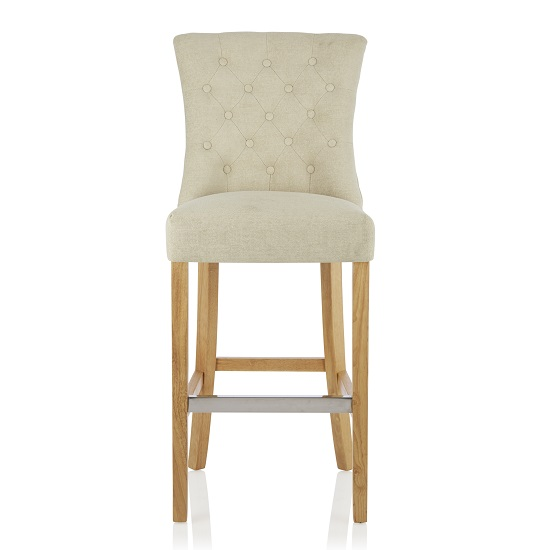 Marlon Bar Stool In Cream Fabric With Oak Legs