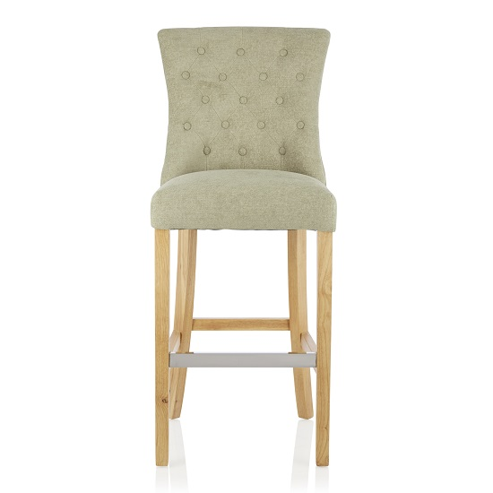 Marlon Bar Stool In Sage Fabric With Oak Legs