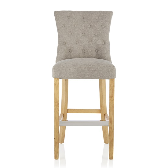 Marlon Bar Stool In Silver Fabric With Oak Legs