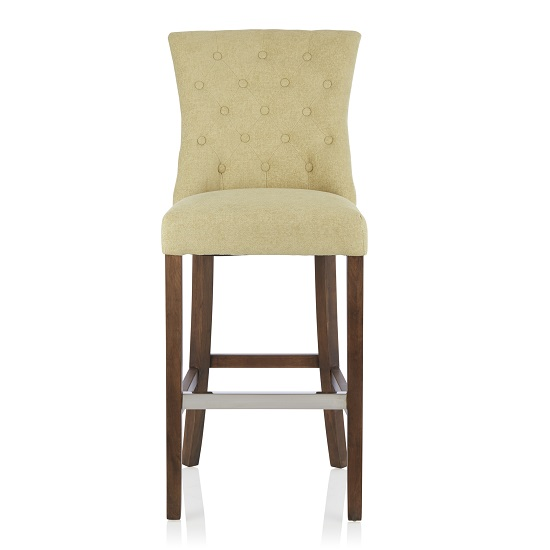 Marlon Bar Stool In Oatmeal Fabric With Walnut Legs