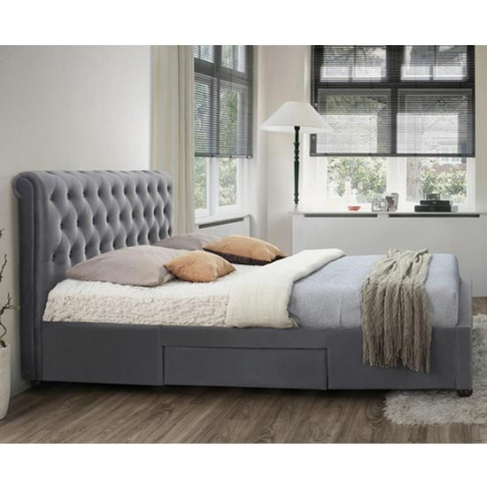 Marlow Fabric Storage King Size Bed In Grey Velvet