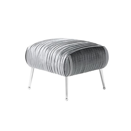 Marlox Modern Stool Charcoal Velvet With Chrome Legs