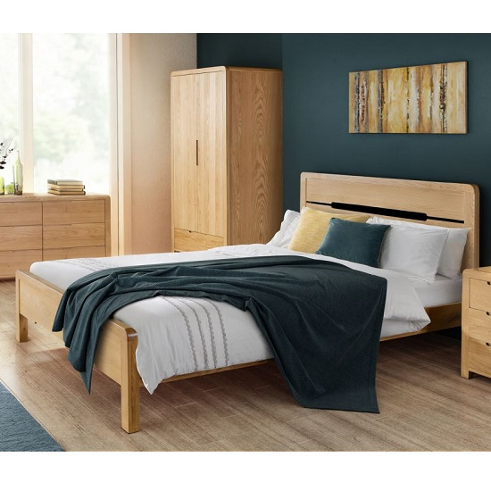 Marne Wooden Bed In Waxed Oak Finish With Curved Edging