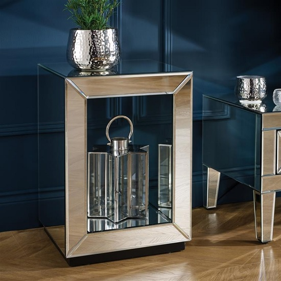 Marnie Contemporary Mirrored Lamp Table