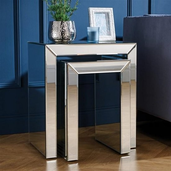 Marnie Contemporary Mirrored Set Of 2 Nest Of Tables