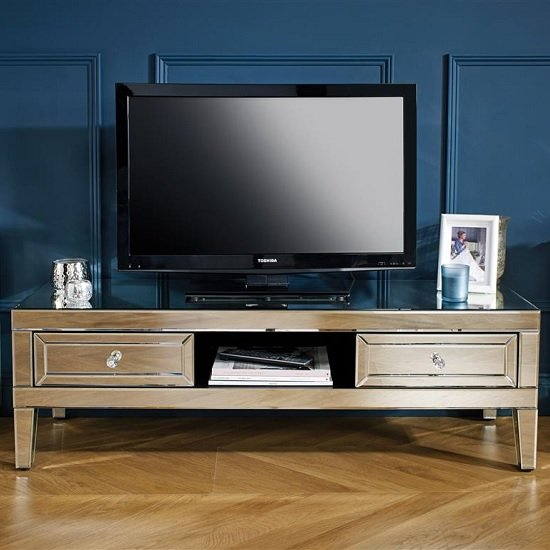 Marnie Mirrored Rectangular TV Stand With 2 Drawers_2