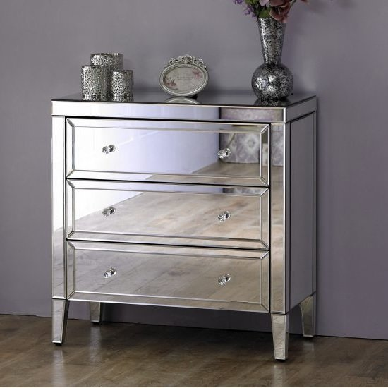 Marnie Modern Mirrored Chest Of Drawers With 3 Drawers