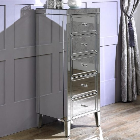 Marnie Tall Mirrored Chest Of Drawers With 5 Drawers_2
