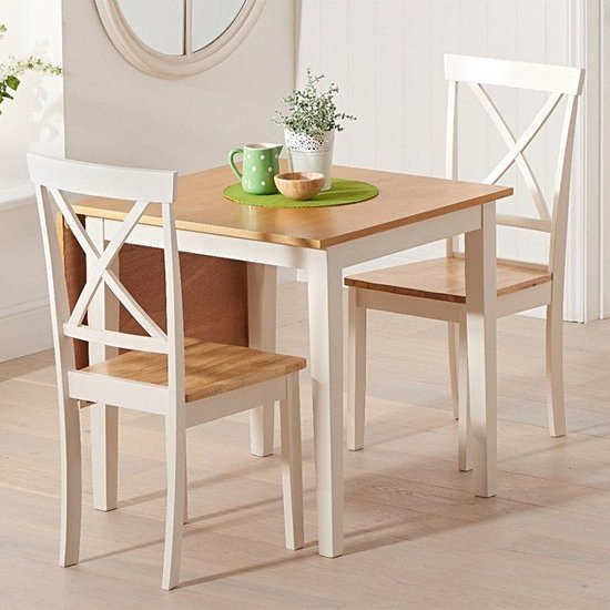 View Maro extending oak and cream dining table with 2 chertan chairs