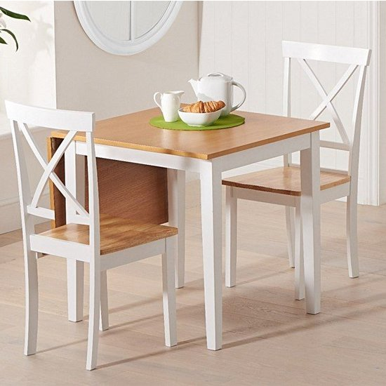 View Maro extending oak and white dining table with 2 chertan chairs