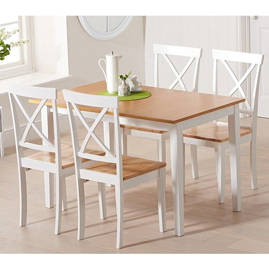 Maro Extending Oak And White Dining Table With 4 Chertan Chairs