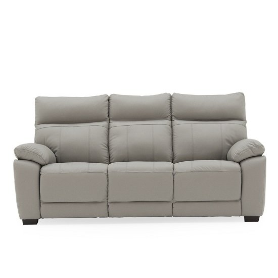 Marquess 3 Seater Sofa In Light Grey Faux Leather