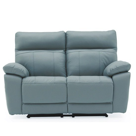 Marquess Recliner 2 Seater Sofa In Blue Faux Leather