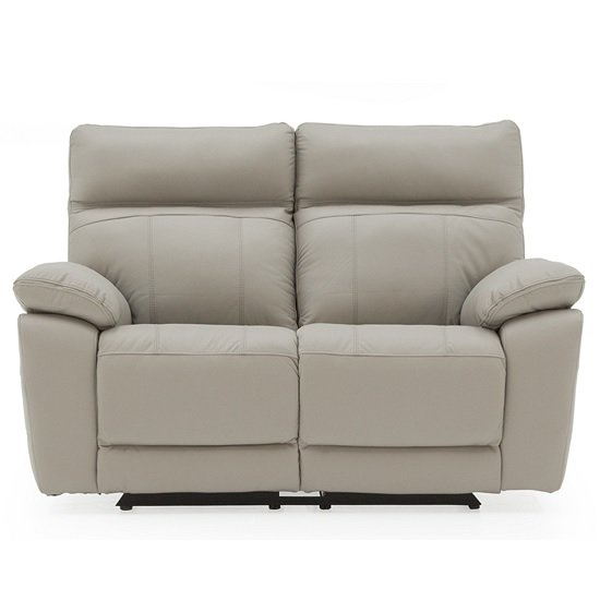 Marquess Recliner 2 Seater Sofa In Light Grey Faux Leather