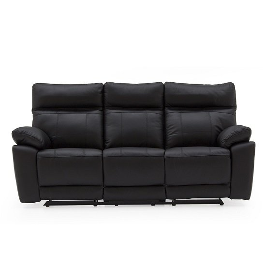 Marquess Recliner 3 Seater Sofa In Black Faux Leather